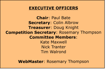 EXECUTIVE OFFICERS  Chair: Paul Bate Secretary: Colin Albrow Treasurer: Doug Knight Competition Secretary: Rosemary Thompson Committee Members: Kate Maxwell Nick TranterTim Walrond WebMaster: Rosemary Thompson