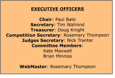 EXECUTIVE OFFICERS  Chair: Paul Bate Secretary: Tim Walrond Treasurer: Doug Knight Competition Secretary: Rosemary ThompsonJudges Secretary: Nick Tranter Committee Members: Kate MaxwellBrian Minniss WebMaster: Rosemary Thompson