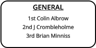 GENERAL 1st Colin Albrow 2nd J Crombleholme   3rd Brian Minniss